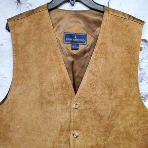John Ashford Suede Leather Vest Size Large